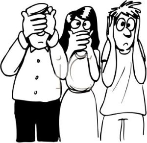 0511-1009-1715-4037_Black_and_White_Cartoon_of_People_Acting_Out_Hear_No_Speak_No_See_No_Evil_clipart_image