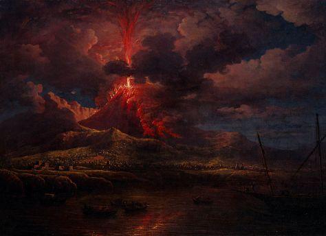 'Vesuvius Erupting at Night' by William Marlow